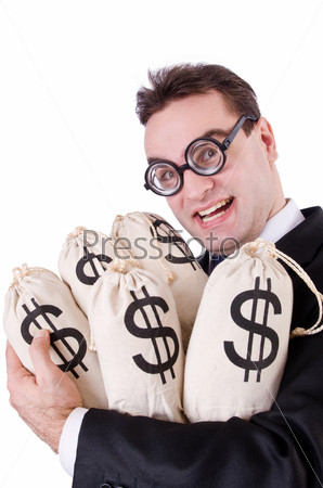 Фотография на тему Бизнесмен с мешками денег на белом фоне