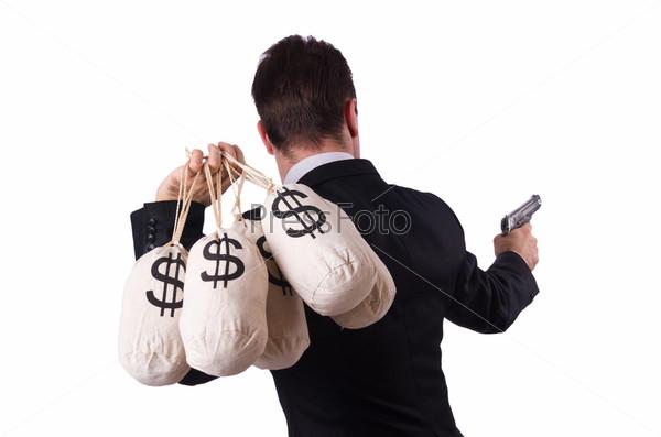 Бандит с мешками денег на белом фоне