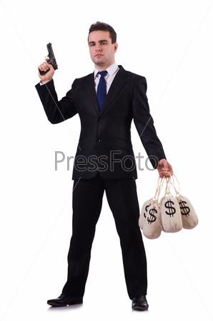 Фотография на тему Бандит с мешками денег на белом фоне