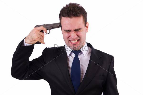 Фотография на тему Бизнесмен совершает самоубийство, изолированный на белом фоне