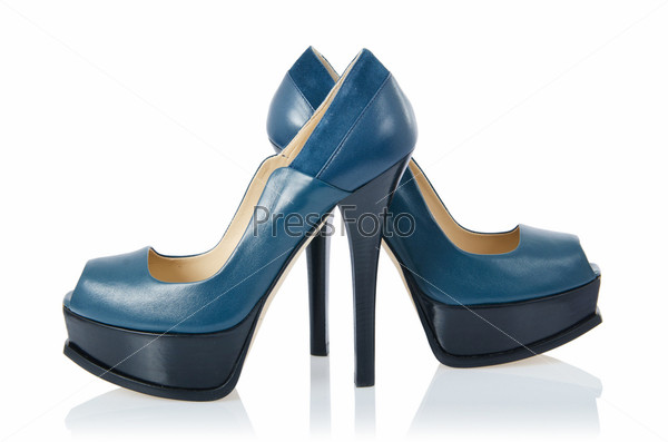 Фотография на тему Синие туфли, изолированные на белом
