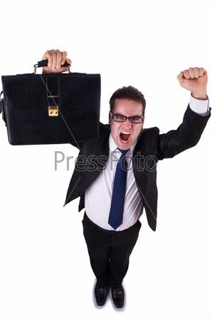 Молодой смешной бизнесмен на белом фоне