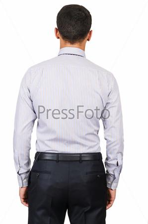 Мужская модель в рубашке, изолированная на белом фоне
