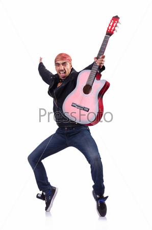 Фотография на тему Гитарист, изолированный на белом