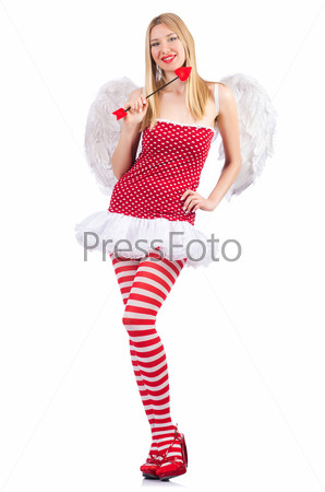 Женщина с луком в концепции дня святого Валентина
