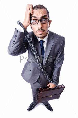 Бизнесмен с наручниками на белом
