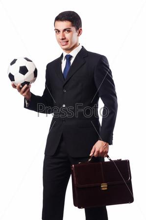 Фотография на тему Молодой предприниматель с футбольным мячом на белом фоне