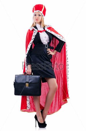 Бизнес-леди в королевском костюме, изолированная на белом фоне