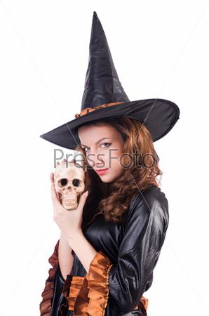 Ведьма, изолированная на белом фоне