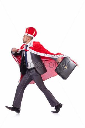 Фотография на тему Бизнесмен в костюме короля, изолированный на белом