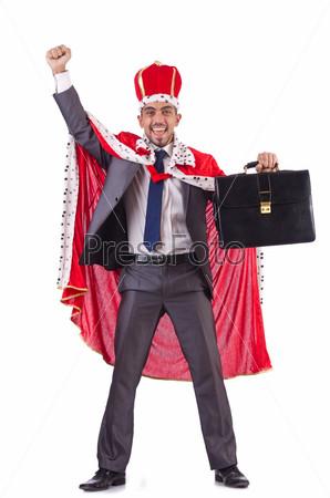 Бизнесмен в костюме короля, изолированный на белом