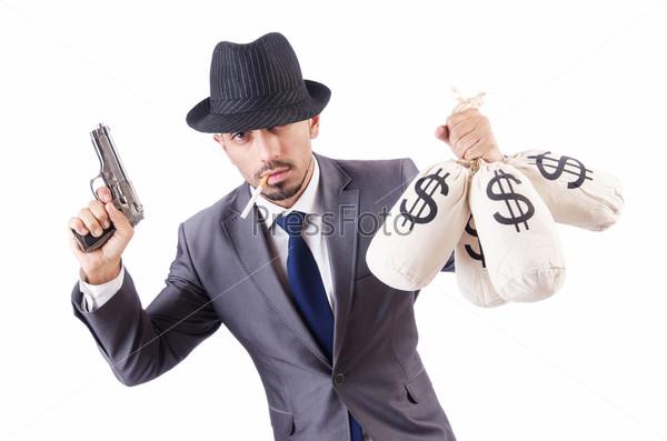 Фотография на тему Бизнесмен-преступник с мешками денег