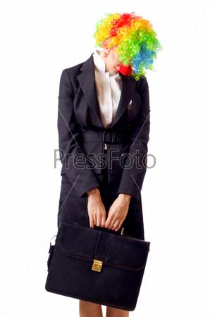 Фотография на тему Женщина-клоун в деловом костюме