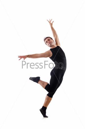 Танцор, изолированный на белом фоне