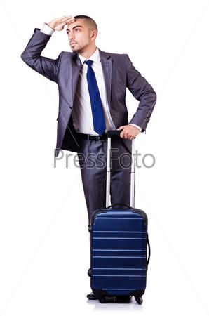Фотография на тему Бизнесмен с багажом на белом фоне