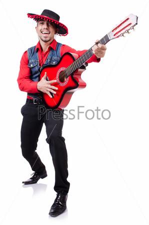 Гитарист, изолированный на белом фоне
