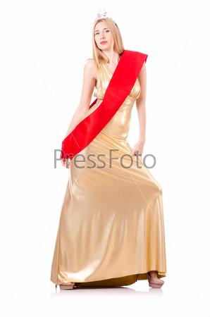 Королева красоты на конкурсе, изолированная на белом