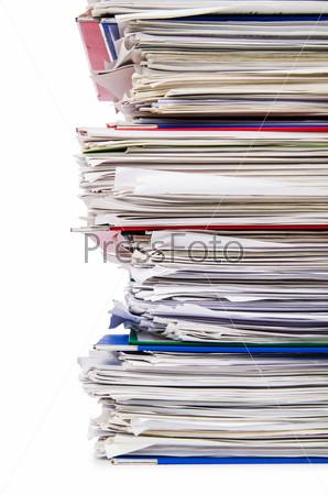 Фотография на тему Кипа документов, изолированная на белом фоне