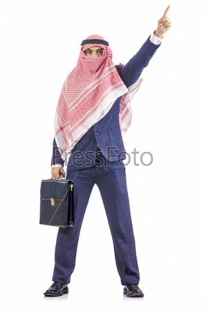 Фотография на тему Арабский бизнесмен, изолированный на белом