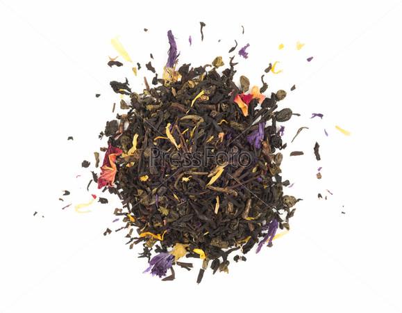 Черный чай с травами - вид сверху