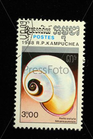 Почтовая марка Кампучии, улитка