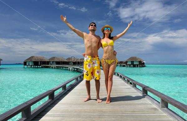Пара на пляже, Мальдивы