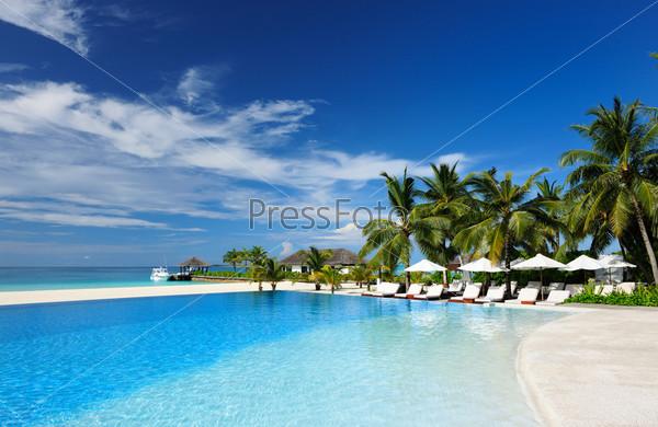 Роскошный тропический плавательный бассейн
