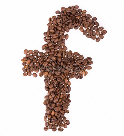 Фотография на тему Кофе в зернах, буквы
