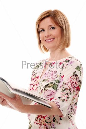 Фотография на тему Красивая женщина средних лет на белом фоне