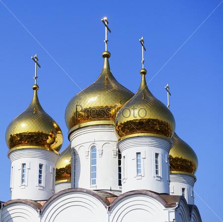 Фотография на тему Золотые купола Церкви Преображения Господня, город Жуковский