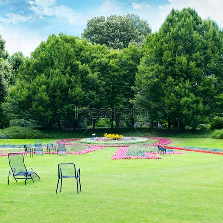 Шезлонги для отдыха в летнем парке