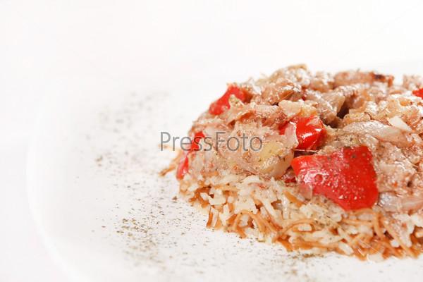 Фотография на тему Рис с мясом и овощами
