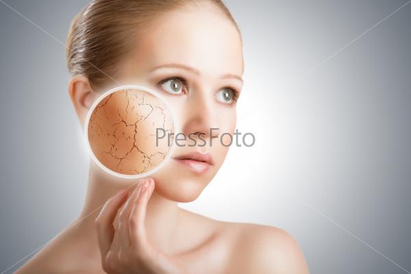 Косметический уход за кожей. Лицо молодой женщины с сухой кожей