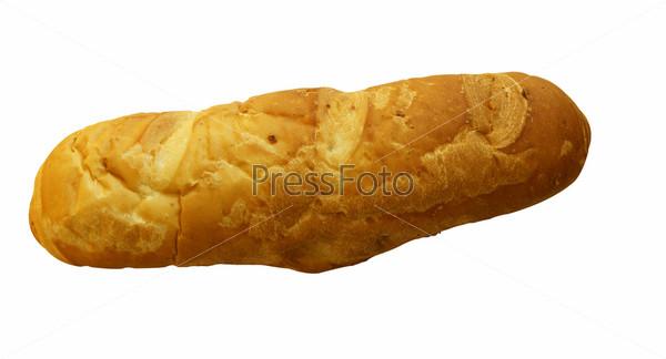 Батон хлеба на белом фоне