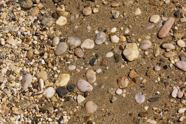 Галька на пляже. Фон