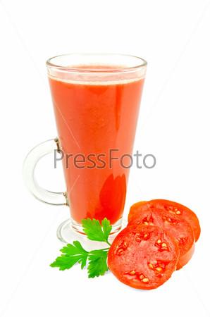 Фотография на тему Томатный сок в высоком стакане с петрушкой