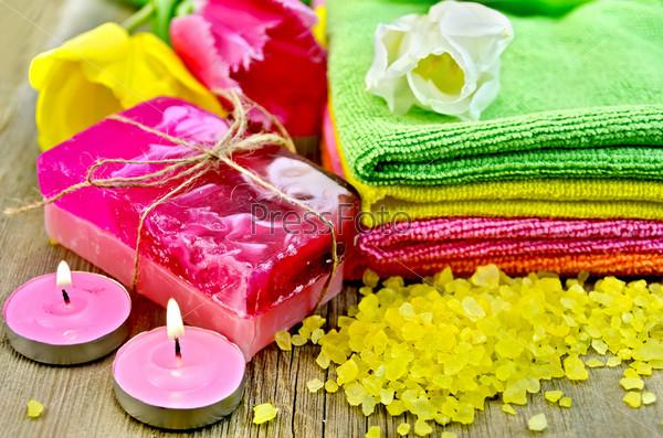 Мыло и соль для ванны с тюльпанами