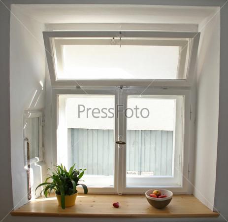 Белые окна с яблоками и растением