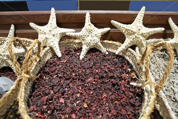 Фотография на тему Морские звезды и специи на местном рынке в Дахабе, регион Красного моря, Синай, Египет