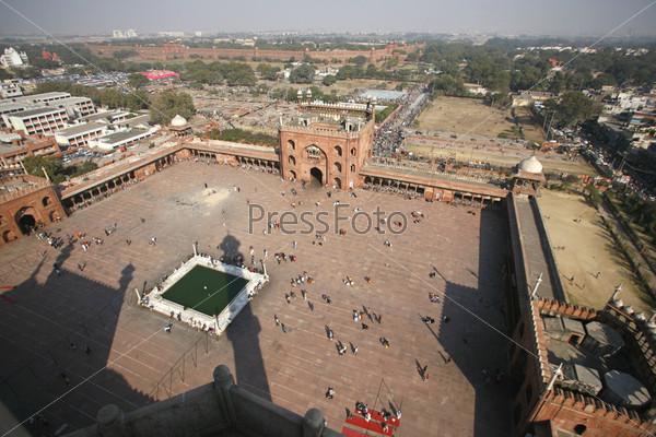 Вид с минаретом мечети Джама-Масджид, Дели, Индия