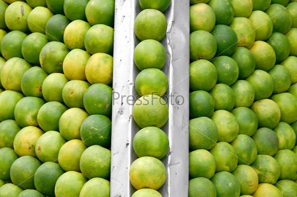 Фотография на тему Ряды апельсинов в фреш-баре, Дели, Индия