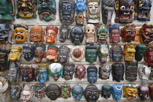 Фотография на тему Маски на стене в Непале