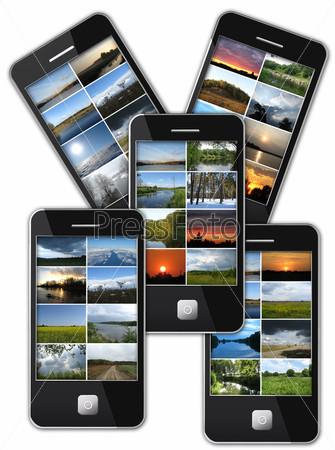 Фотография на тему Современный мобильный телефон с фотографиями пейзажей