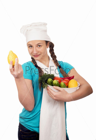 Фотография на тему Девушка-повар и продукты на белом фоне
