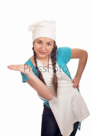 Девушка-повар на белом фоне