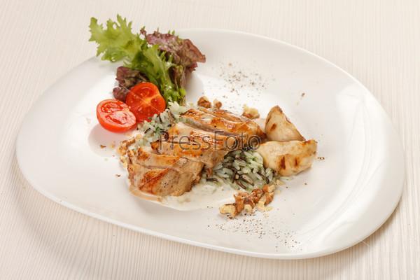 Фотография на тему Куриное филе с овощами и рисом