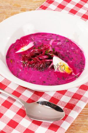 Фотография на тему Холодный овощной суп из свеклы