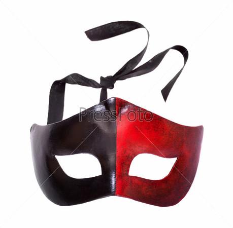Мужская черно-красная карнавальная маска