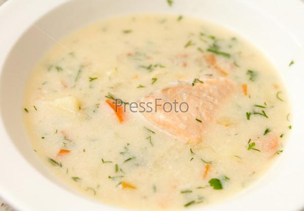 Фотография на тему Сливочный суп с лососем