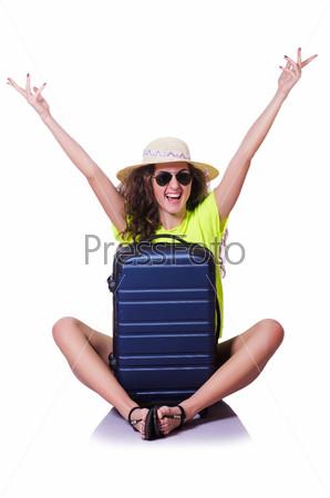 Молодая женщина с чемоданом на белом фоне